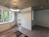 Reading Area In Studio Apartments. Rest Zone In A Modern Apartment.  Concrete. poster