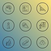 School Icons Line Style Set With Prom Dress, Primary School, Geometry And Other Rubber Elements. Iso poster