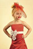 Retro Look, Hairdresser, Makeup. Child Girl In Stylish Glamour Elegant Dress. Retro Girl, Fashion Mo poster