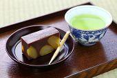 japanese traditional confection, kuri mushi yokan, steamed sweetened adzuki bean paste with chestnut poster