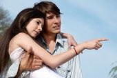 stock photo of young adult  - young couple on the nature - JPG