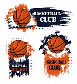 Basketball Sport Icons With Balls And Champion Trophy Cup. Basketball Game Competition With Grunge E poster