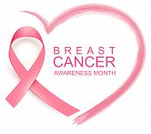 National Breast Cancer Awareness Month. Poster Pink Ribbon, Text And Heart Shape poster