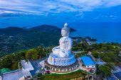 aerial photography scenery blue sky and blue ocean behind Phuket white big Buddha. Phuket white big  poster