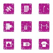 Voice Ad Icons Set. Grunge Set Of 9 Voice Ad Vector Icons For Web Isolated On White Background poster