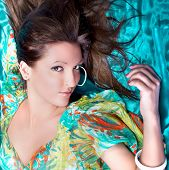 stock photo of good-looker  - Beautiful brunette posing - JPG