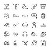 Winter Sports Line Icons. Cold Weather Outdoor Activities Skiing, Hockey, Snowboard, Snowball Game,  poster