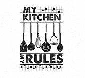 Hand Drawn Typography Poster. Inspirational Vector Typography. My Kitchen, My Rules. . Vector Callig poster