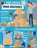Post Office Delivery Service, Vector. Postage Logistic, Postman Courier And Packed Boxes Delivered B poster