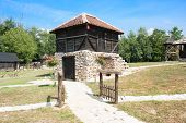 image of velika  - Traditional Timber ethno houses with stone base - JPG