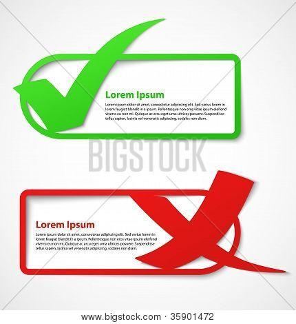 Estandartes de la marca de verificación verde y rojo