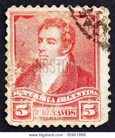 Postage stamp Argentina 1892 Bernardino Rivadavia, President
