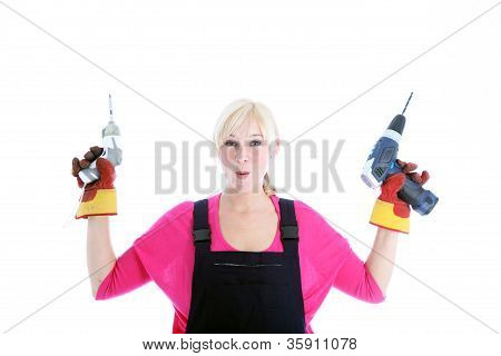 Laughing Woman Holding A Screwdriver And Drill