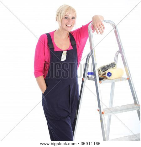 Confident Relaxed Female Decorator