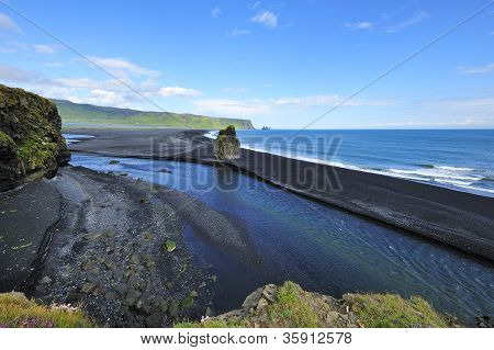 Black Volcanic Sand Beach At Dyrholaey, Iceland