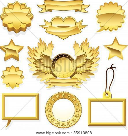 Set of golden speech bubbles labels tags