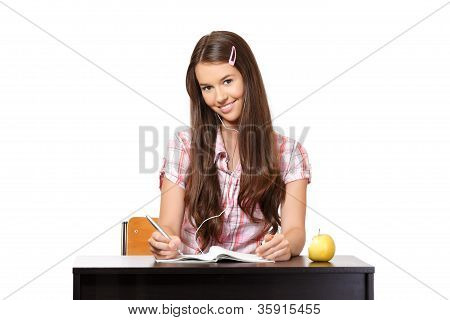 Beautiful Teenager Listening Music In School