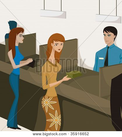 Two Women At Bank Tellers