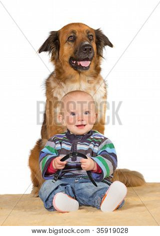 Little Baby With Trusted Family Dog