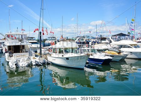 Boats in the Inner Harbor of Victoria, British Columbia  on Canada Day
