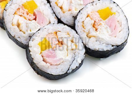 Sushi with Cream Cheese, Cucumber and Spring Onion