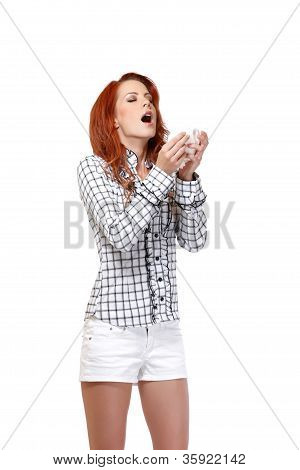 Redhead Woman With Handkerchief On White Background