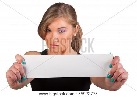 Young Woman Holdind A Blank Paper