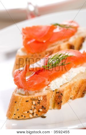 Salmon Cheese Canape