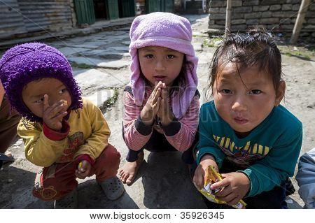 Sherpa Children Play In Their Village