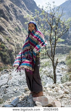 Tibetan Woman In Himalaya Mountains