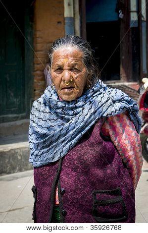 Portrait Of Old Tibetan Woman