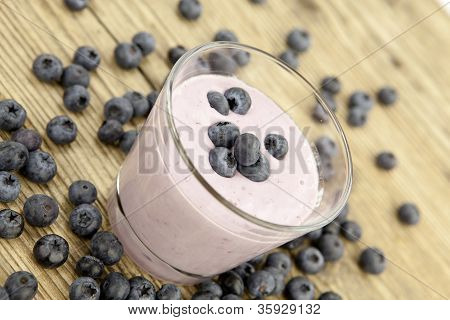 Fresh Delicious Blueberry Yoghurt Shake Dessert On Table