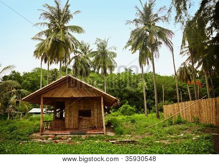 Bamboo Hut In The Old Thai Village