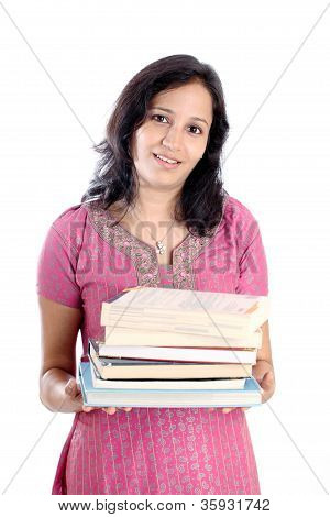 Female College Student Holding Books