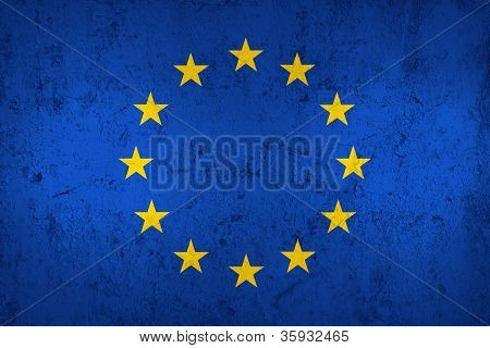 Grunge Dirty And Weathered European Union Flag