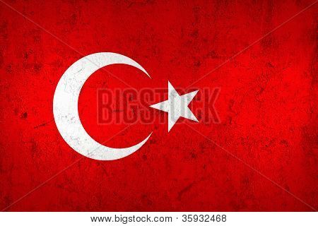 Grunge Dirty And Weathered Turkish Flag