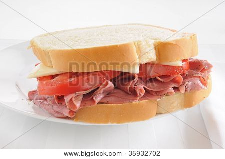 Pastrami Sandwich On A White Background