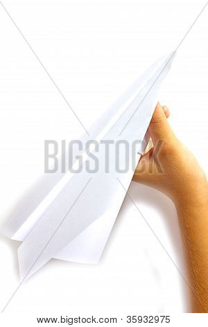 Hand Launches A Paper Airplane