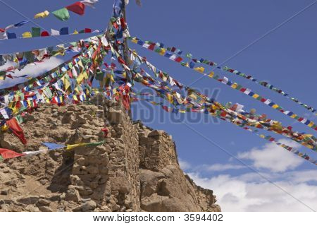 Prayer Flags On Derelict Fort