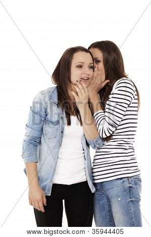 teenager whispering gossip to her sister