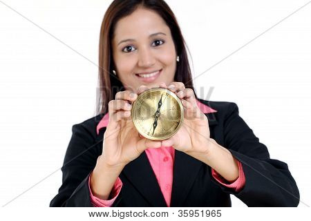 Business Woman Showing Compass