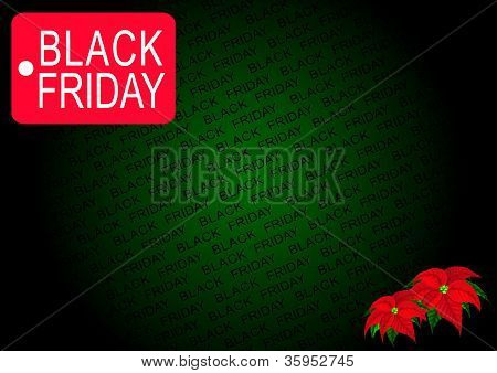 Black Friday Banner and Poinsettia Flowers on Green Background