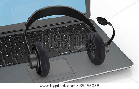Notebook And Headphone