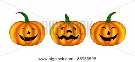 Three Happy Jack-o-Lantern Pumpkins