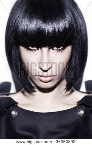 Black Hair Young Sexy Woman Portrait, Studio Shot