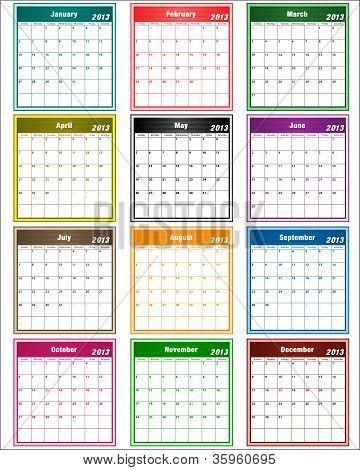 Calendar 2013 Assorted Colors