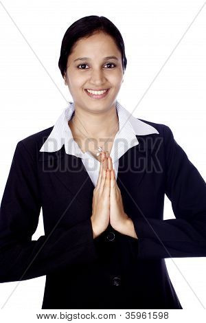 Young Business Woman In Prayer Position