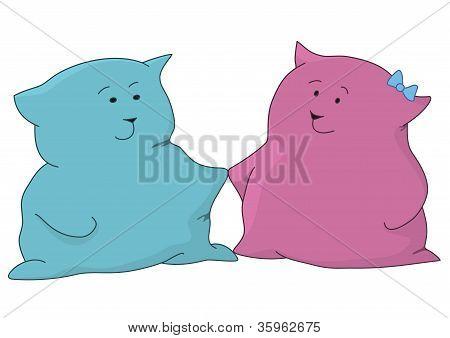 Desenhos animados, brinquedo gatos amigos