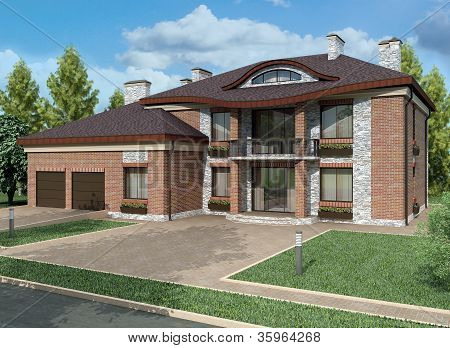 3D Rendering.exclusive Two Floor Country House On The Nature.