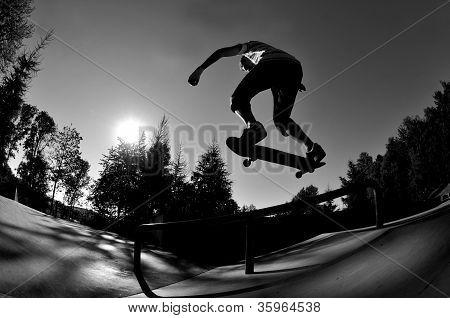 skateboarding silhouette